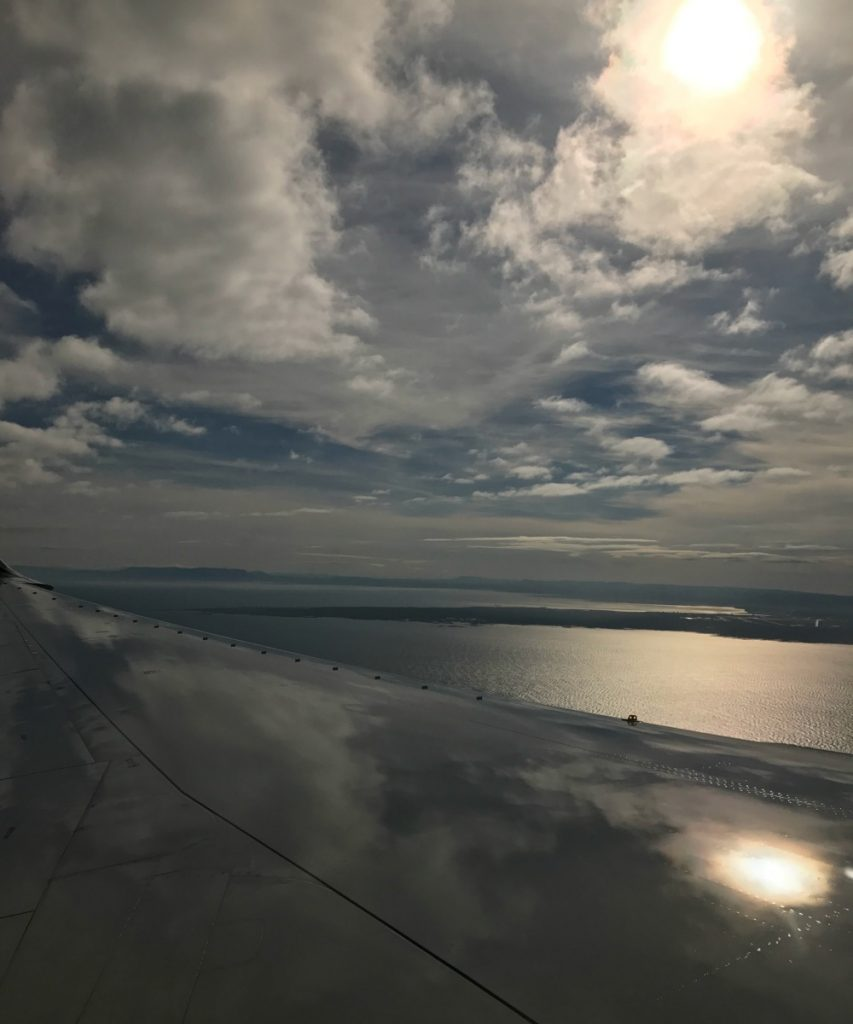 Blick aus dem Flugzeug - Landeanflug auf Island bzw. Reykjavik