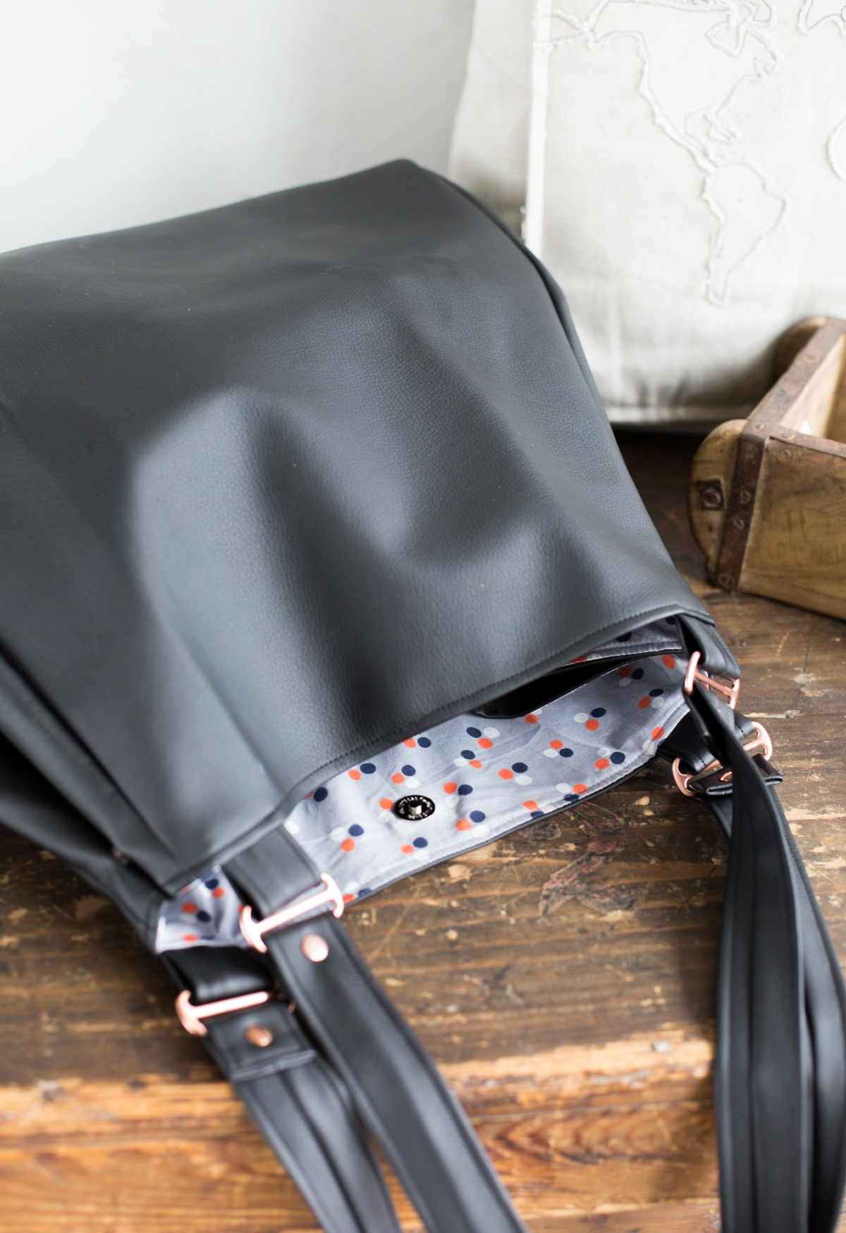 Edelshopper - schwarze schlichte Version Tasche nähen für den Sew Along Taschenspieler 4