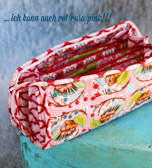 Sew Together Bag in rosa, pink - Schnittmuster für ein großes Stiftmäppchen