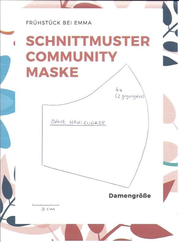 Schnittmuster Community Maske nähen für Damen